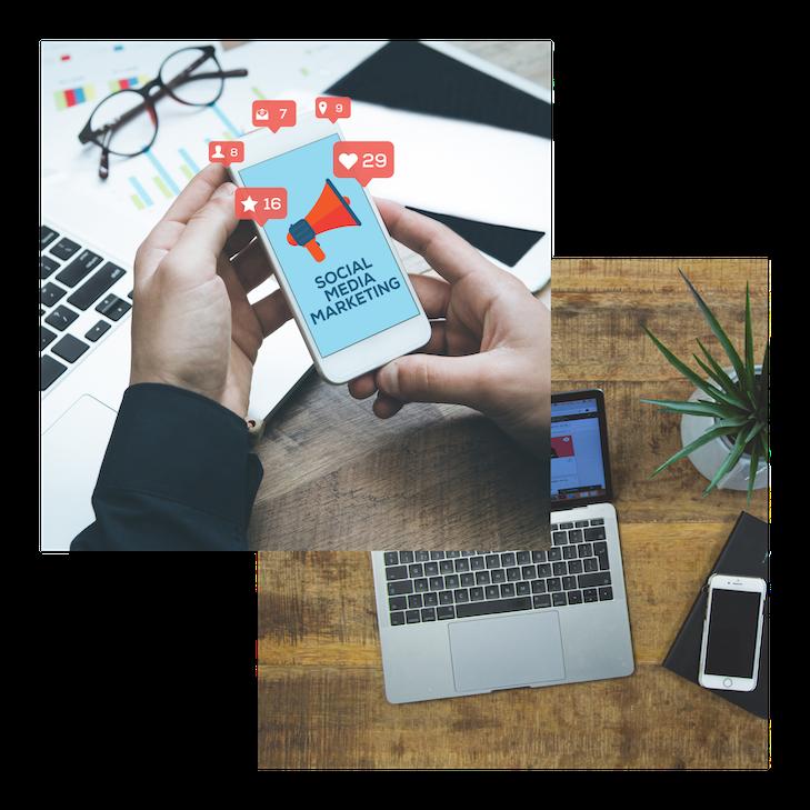 Twee foto's van schermen met social media, 1 van een laptop op een bureau en 1 van een telefoon in de hand.